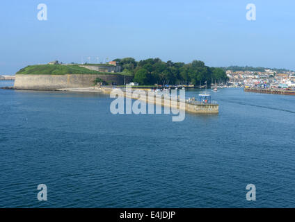 Nothe Fort on the mouth to Weymouth Harbour, England - Stock Photo