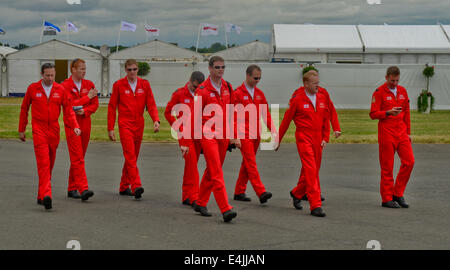 Fairford, UK. 13th July, 2014. Members of the Royal Air Force Red Arrow Air Display team at the International Air - Stock Photo