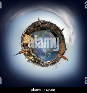 Stockholm old town skyline, 360 degree miniplanet (Elements of this image furnished by NASA) - Stock Photo