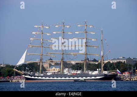 RIGA, LATVIA - JULY 26: Russian tall ship Kruzenshtern during The tall ships races July 26, 2013 Riga, Latvia. Kruzenshtern - Stock Photo