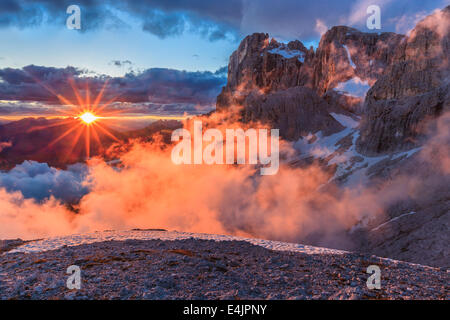 suset in Dolomite Alps, Italy - Stock Photo