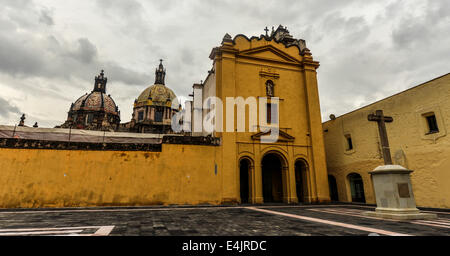 Temple of Our Lady Carmen (Templo de Nuestra Senora del Carmen). A 17th century church and a former convent in Mexico - Stock Photo