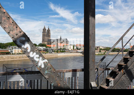 View on Magdeburg, the river Elbe and the cathedral from the old elevator bridge - Stock Photo