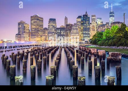 New York City, USA skyline at night. - Stock Photo
