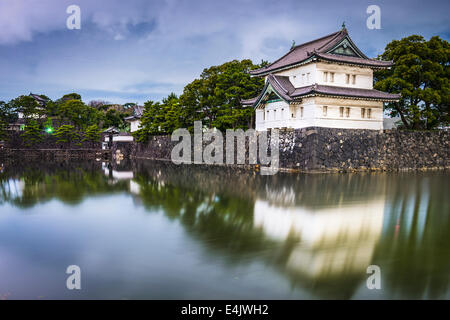 Tokyo, Japan Imperial Palace outer moat at night. - Stock Photo