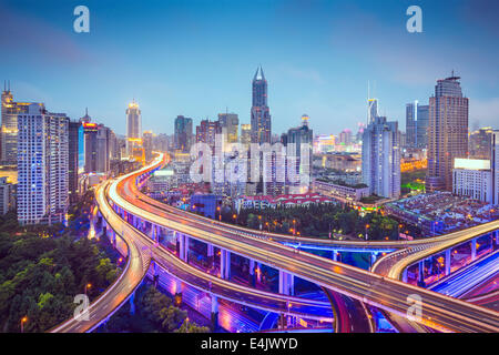 Shanghai, China aerial view over highways. - Stock Photo