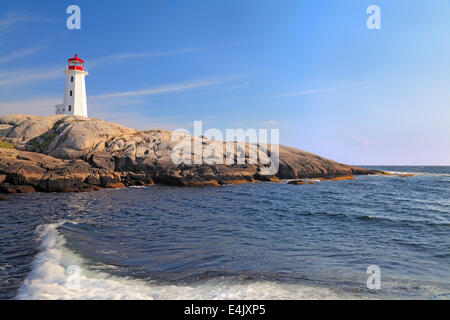 Peggy Cove Lighthouse, Nova Scotia, Canada - Stock Photo