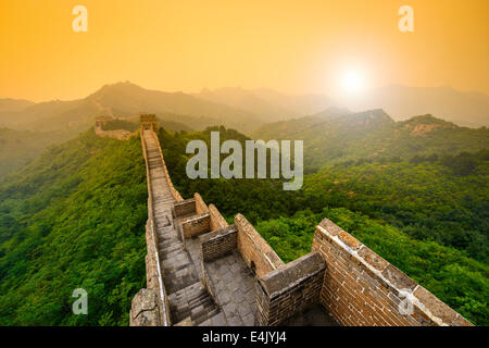 Great Wall of China. Unrestored sections at Jinshanling. - Stock Photo