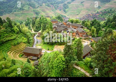 Village on Yaoshan Mountain in Guangxi, China. - Stock Photo