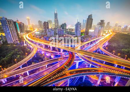 Shanghai, China aerial view over highways. - Stock Photo