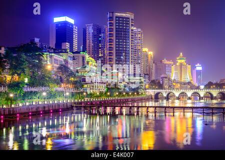 Guiyang, China cityscape on the Nanming River. - Stock Photo