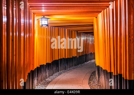 Fushimi Inari Taisha Shrine torii gates in Kyoto, Japan at night. - Stock Photo