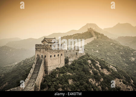 Partially restored section of the Great Wall in Jinshanling, Beijijng, China. - Stock Photo