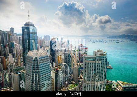 Hong Kong, China aerial view of the cityscape at Victoria Harbor.