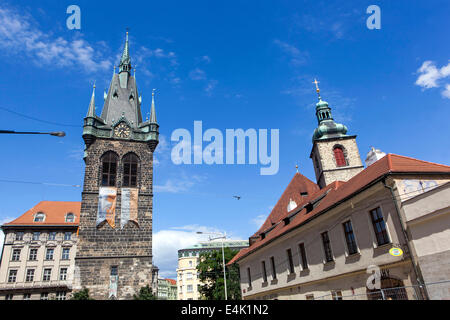 Jindrisska Tower - since the 14th century.  is 67.7 meters high, which makes it the highest separate belfry in Prague. - Stock Photo