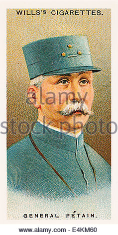 Wills cigarette card General Henri Philippe Petain 1856-1951. EDITORIAL ONLY - Stock Photo