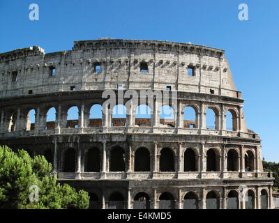 The ruin of the Colosseum in Rome, Italy built under the rule of Vespasian around 70-72 AD - Stock Photo