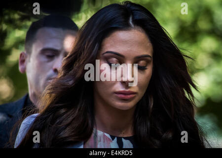 London, UK. 14th July, 2014. Tulisa Contostavlos arrives at Southwark Crown Court in London Credit:  Guy Corbishley/Alamy - Stock Photo