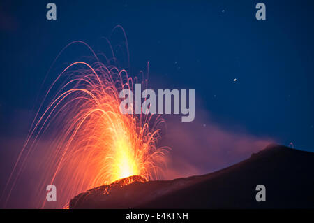 Eruption of Stromboli view from Punta dei Corvi Ginostra, Aeolian Islands, Messina, Sicily, Italy, Europe - Stock Photo