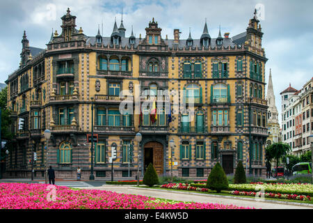 Chavarri Palace in Plaza Moyúa square, Bilbao, Biscay, Basque Country, Spain - Stock Photo