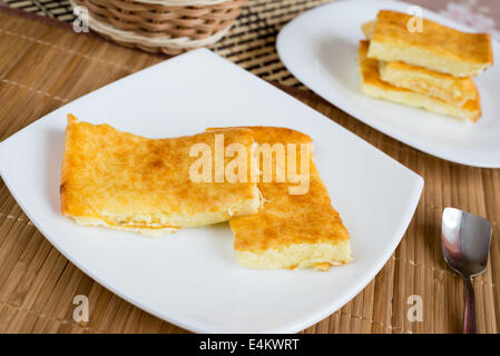 Curd Casserole with strawberry jam - Stock Photo