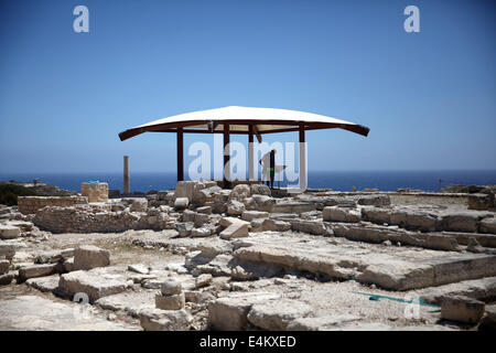 KOURION, CYPRUS- JULY 13:Tourists visit Kourion in Cyprus on July 13, 2014 - Stock Photo