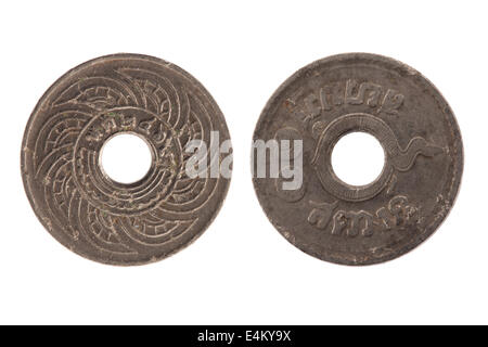 2469 thai coin isolated on white background - Stock Photo