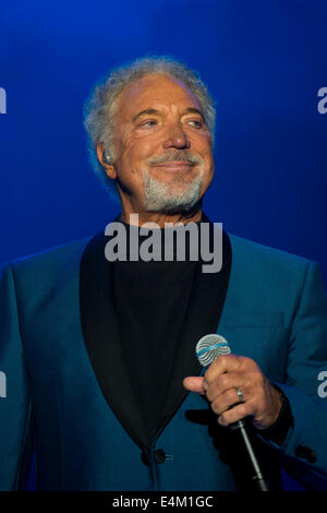 Welsh singer Tom Jones on stage at Chepstow Racecourse. - Stock Photo