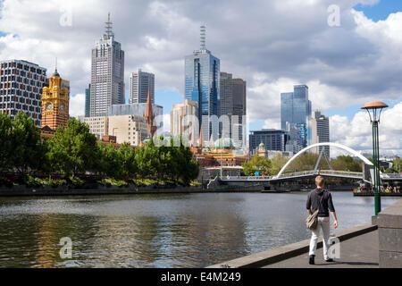 Melbourne Australia Victoria Central Business District CBD Yarra River high rise buildings skyscrapers Southbank - Stock Photo