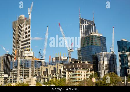 Melbourne Australia Victoria Central Business District CBD high rise buildings city skyline skyscrapers economic - Stock Photo