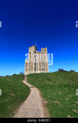 Summer view of the Norman Keep castle at Orford village, Suffolk County, East Anglia, England. - Stock Photo