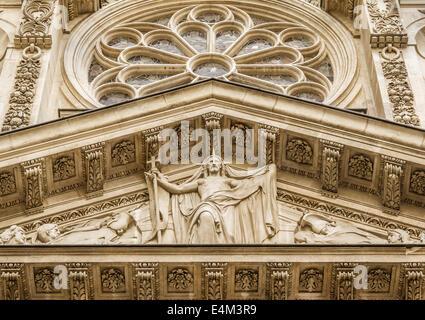 Saint-Etienne-du-Mont is a church in Paris, France, located on the Montagne Sainte-Genevieve near the Pantheon. - Stock Photo