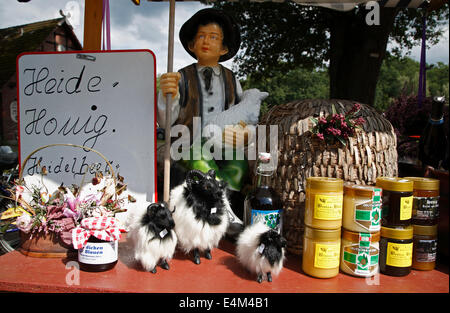 Stall with souvenirs, Undeloh, Lueneburger Heath, Lower Saxony, Germany, Europe - Stock Photo
