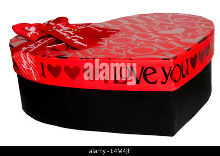 Black and red gift box on white studio background. - Stock Photo
