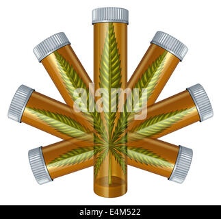 Medical Marijuana concept as a prescription medicine bottle in the shape of a cannabis leaf as a medical alternative - Stock Photo
