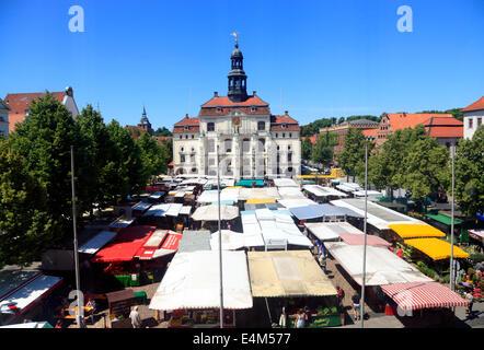 Weekley market in front of town hall, Lueneburg,  Lüneburg, Lower Saxony, Germany, Europe - Stock Photo