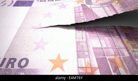 A concept picture of a regular american five hundred euro note tearing in two length ways on an isolated background - Stock Photo