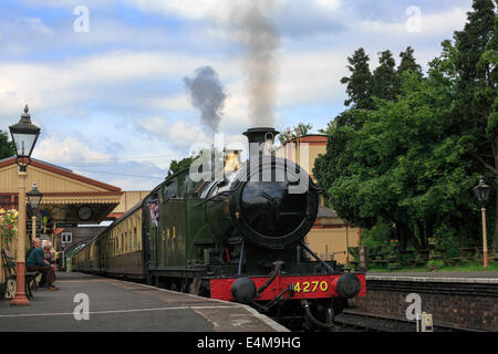 Steam locomotive 4270, Gloucestershire Warwickshire Railway at Toddington Railway Station, Gloucestershire - Stock Photo