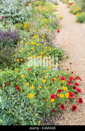 Colourful summer flowers spilling over on to gravel path in the walled garden at Felbrigg Hall, Norfolk - Stock Photo