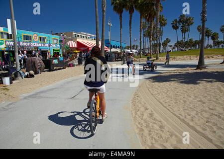 Cyclists On Santa Monica To Venice Beach Bike Path Los Angeles