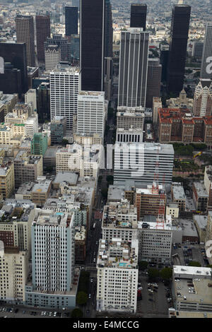 West 6th Street, Downtown Los Angeles, California, USA - aerial Stock Photo