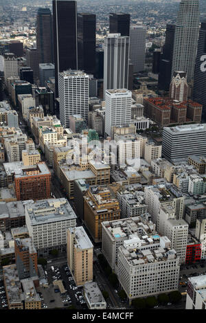West 7th Street, Downtown Los Angeles, California, USA - aerial - Stock Photo