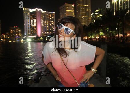 Beautiful Peruvian American Model Enjoying 4th of July in Miami - Stock Photo