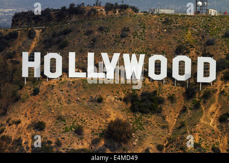 The Hollywood Sign, Mount Lee, Hollywood Hills, Hollywood, Los Angeles, California, USA - aerial - Stock Photo
