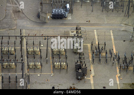 Electricity substation, West Hollywood, Los Angeles, California, USA - aerial - Stock Photo