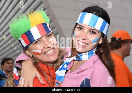 Sao Paulo, Brazil. 9th July, 2014. Fans Football/Soccer : FIFA World Cup Brazil 2014 Semi-finals match between Netherlands - Stock Photo