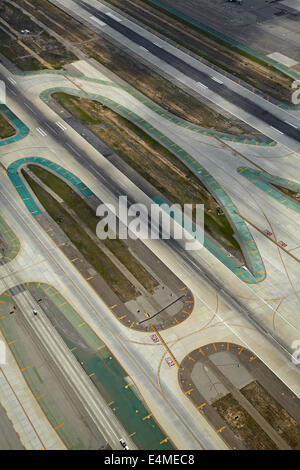 Runways at Los Angeles International Airport (LAX), Los Angeles, California, USA - aerial - Stock Photo