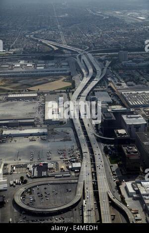 Glenn Anderson Freeway (I-105) by Los Angeles International Airport (LAX), Los Angeles, California, USA - aerial - Stock Photo