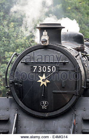 Steam Train - British Railways Standard Class 5 Locomotive 73050 - Stock Photo