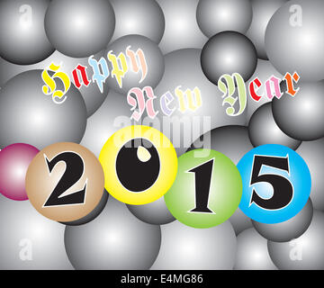 Vector of Happy New Year 2015 Light Two Tone Ball. - Stock Photo